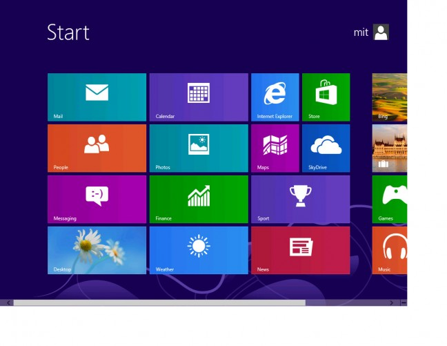 Microsoft Windows RT Start Menu