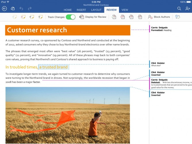 Microsoft Word for iPad -- Track Changes