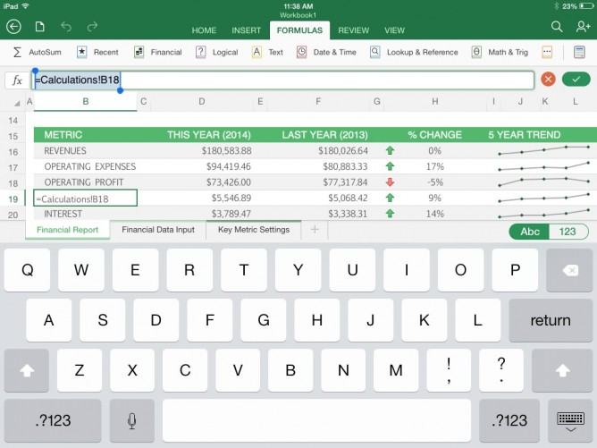 Microsoft Excel for iPad -- ABC Keyboard