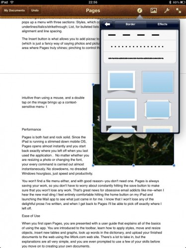 iWork Pages Insert menu