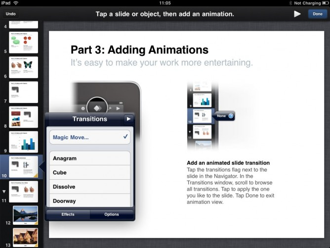 Apple Keynote for iPad -- Animations