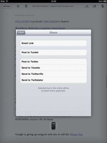 Instapaper Pro for iPad sharing