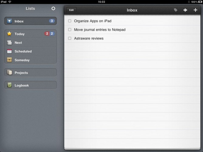 Inbox in Things for iPad