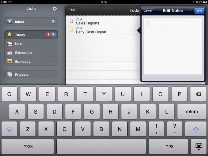 Note Edit View in Things for iPad