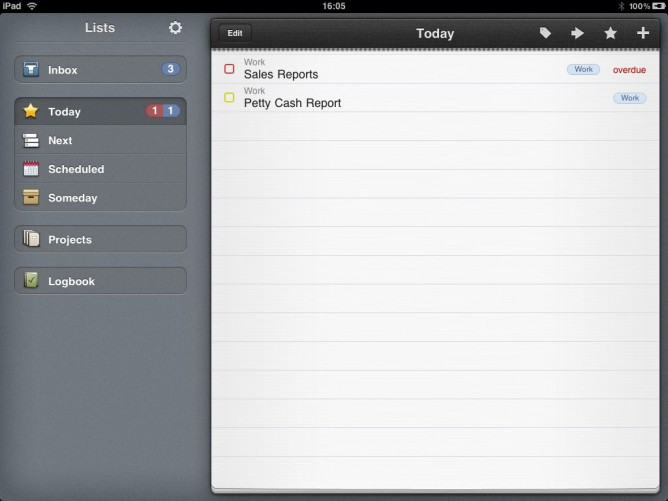Today View in Things for iPad