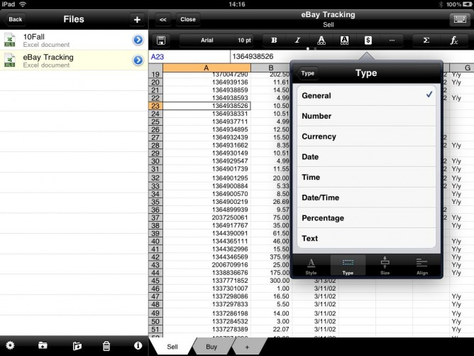 Cell types in Office2 HD for iPad