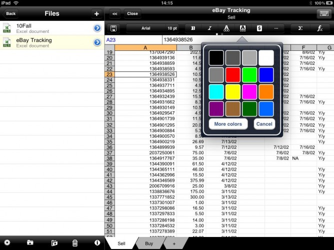 Color options in Office2 HD for iPad