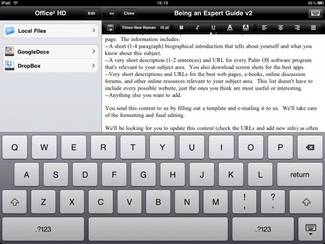 Document editing view in Office2 HD for iPad