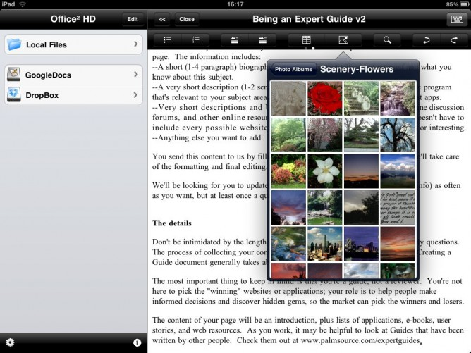 Photo insertion step 1 in Office2 HD for iPad