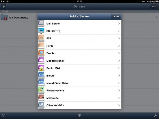 Add server in Air Sharing HD for iPad
