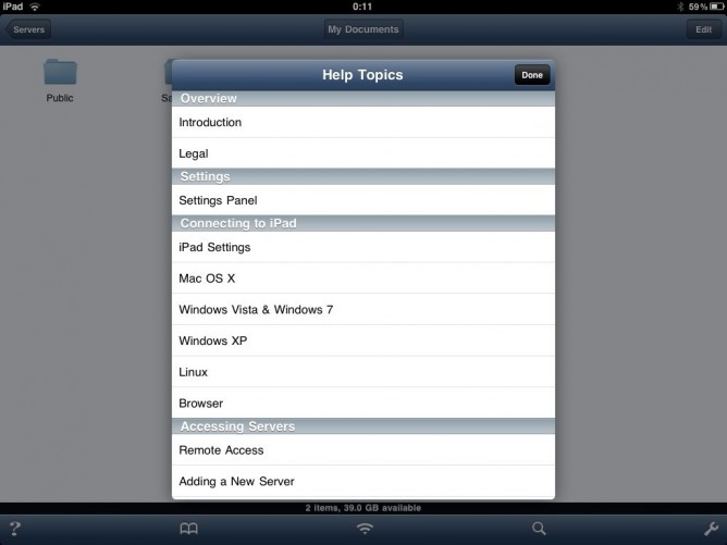 Help screen in Air Sharing HD for iPad