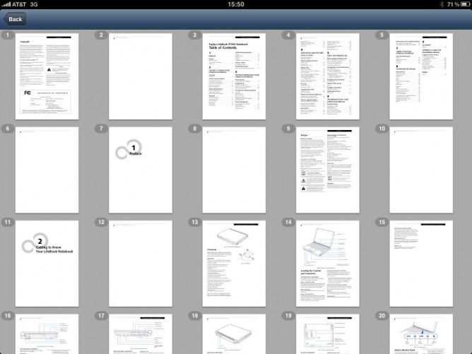 PDF thumbnails in Air Sharing HD for iPad