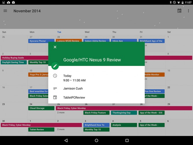 Android 5.0 Lollipop Calendar