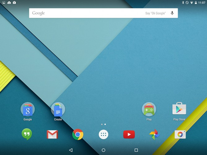 Android 5.0 Lollipop Homescreen