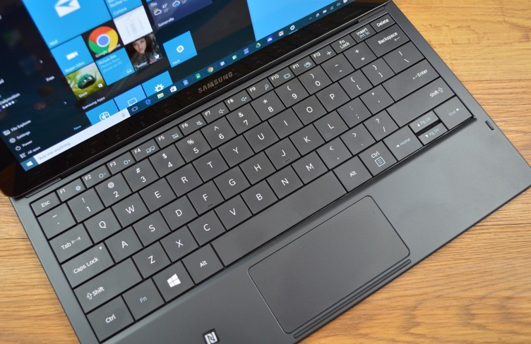 The Samsung Galaxy TabPro S keys are large, but cramped toward the edges.
