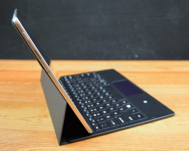 The Samsung Galaxy TabPro S keyboard case doubles as a stand.