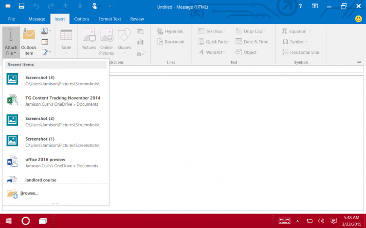 Outlook 2016, recent attachments