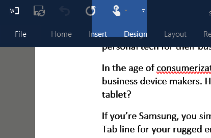 Touch mode in Office 2016