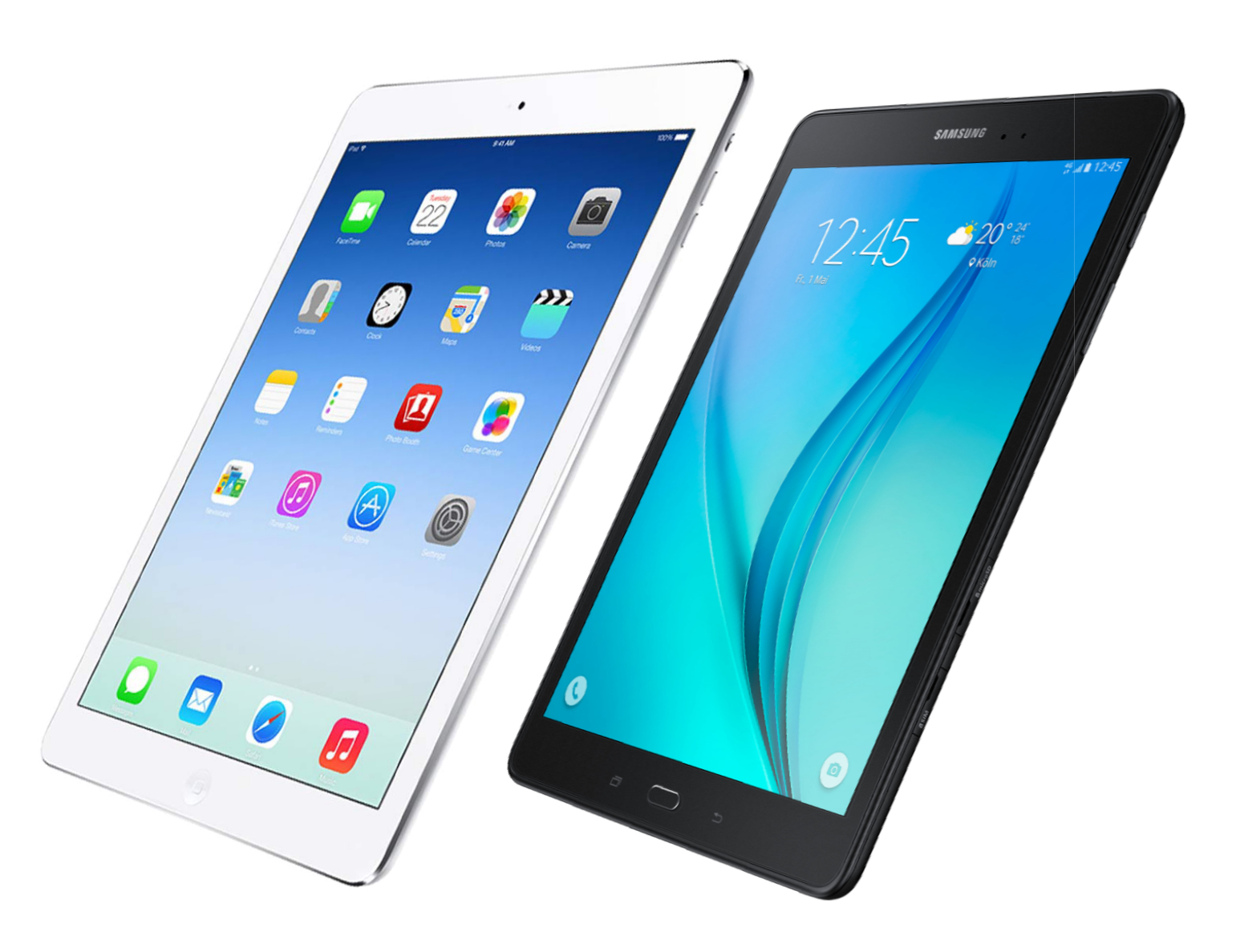 Samsung Galaxy Tab S2 97 Vs Apple Ipad Air 2 16gb Silver Angled View