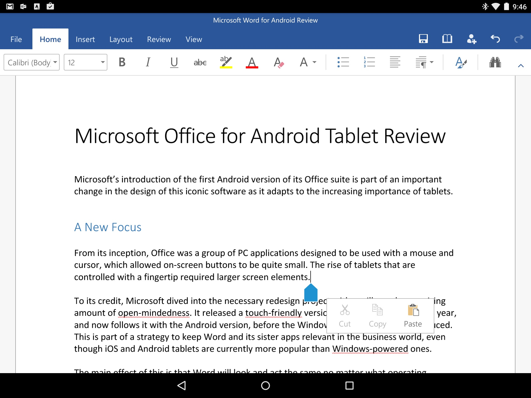 Microsoft Office For Android Tablet Review